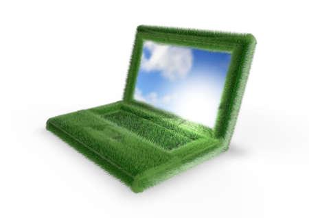 Grassy laptop Stock Photo