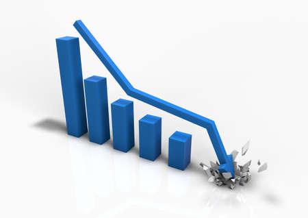 Crashing business bar graph Stock Photo - 9923632