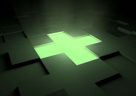 Glowing medical cross