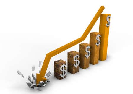 derrumbe: Gráfico de estrellarse dólar Foto de archivo