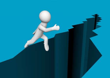 baratro: il rendering di una persona che salta su un abisso