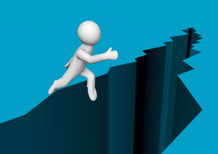 render of a person jumping over a chasm Stock Photo