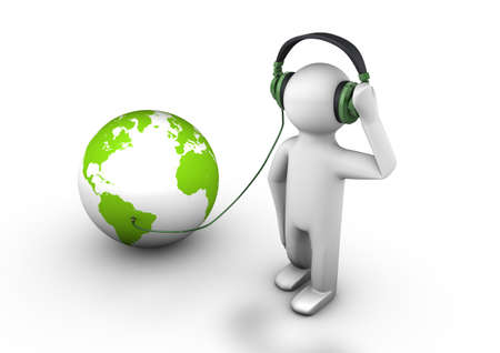render of a person with headphones on listening to the world Stock Photo