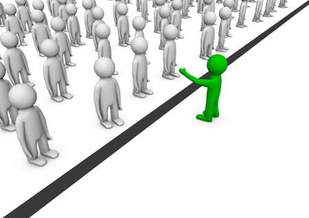 render of a crowd on one side of the line and one on the other side, symbolizing importance