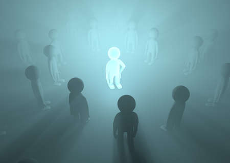 render of a crowd with one glowing in the middle, symbolizing importance Stock Photo