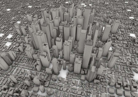 render of a big grey city Stock Photo