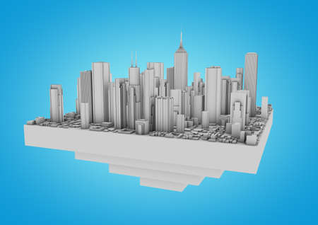 floating city on a blue background Stock Photo - 10414947
