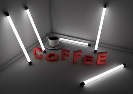 fluorescent: coffee and text in a room