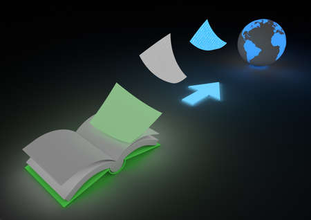 digitization: Digitizing books concept