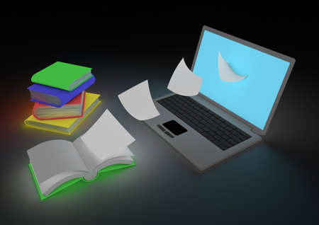 Digitizing books concept