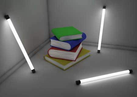 tubos fluorescentes: pila de libros en una habitación Foto de archivo