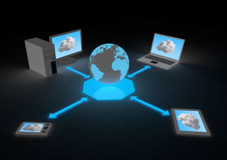 render of several devices connect to the internet Stock Photo