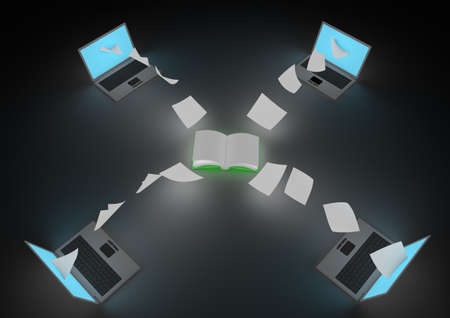 render of an open book distributing information to laptops photo