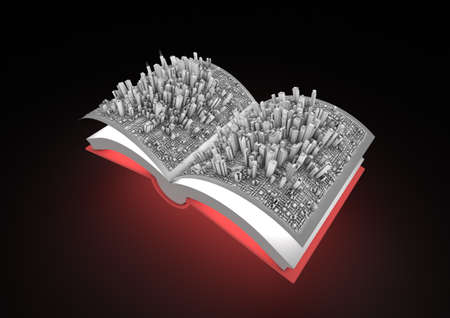 render of an open book with a city in it