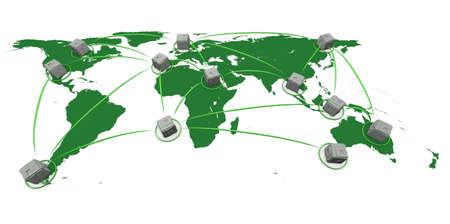 render of a high-tech network of connected cubes photo