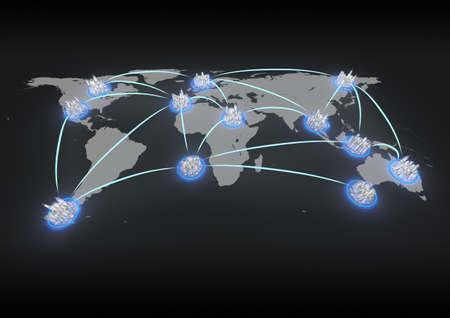 link building: render of a global city network