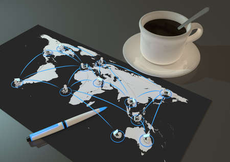 render of several people connected to each other around the world photo