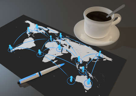 render of a global social network