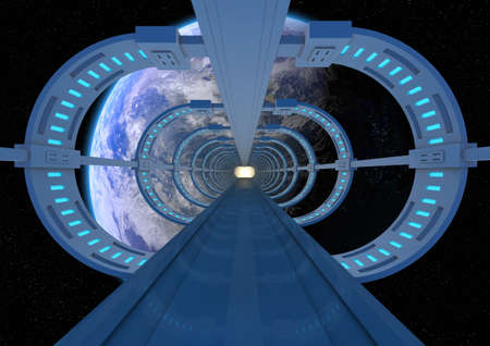 brige: render of an abstract brige going to earth Stock Photo