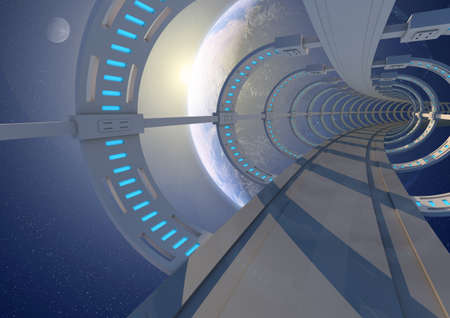 render of an abstract tunnel in space photo