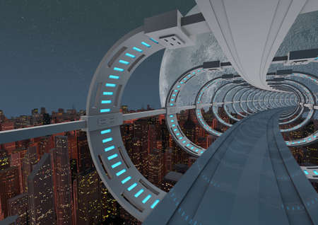render of an abstract futuristic bridge over a modern city