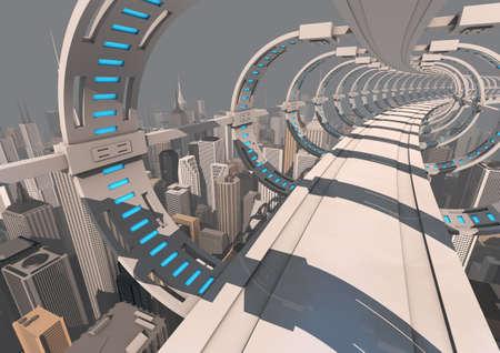 futuristic city: render of an abstract futuristic bridge over a modern city