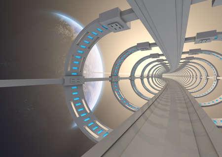 Render of a futuristischen Weltraum-Brücke auf die Erde Standard-Bild - 10669172