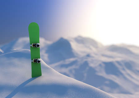 render of a snowboard in a snowy landscape