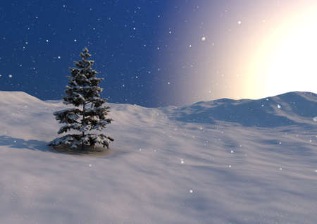 render of a winter scene with one lonely tree