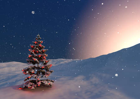 balls decorated: render of a serene christmas scene