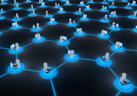 render of several people connected to each other through the cloud