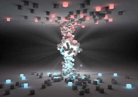 render of a glowing sphere attracting cubes