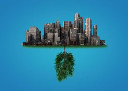Rendern von einem abstrakten Hintergrund über das Gleichgewicht zwischen Natur und Urbanisierung