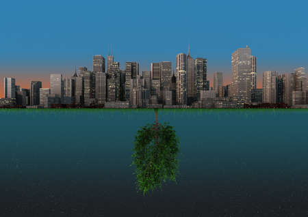 render of an abstract background about the balance between nature and urbanization photo