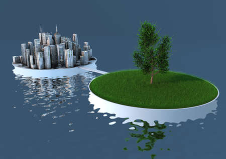 eco building: render of an abstract concept about the balance between nature and urbanization Stock Photo