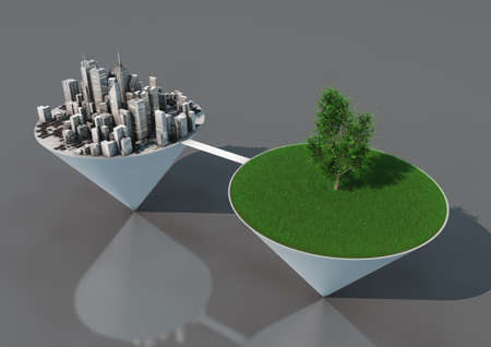 render of an abstract concept about the balance between nature and urbanization Stock Photo