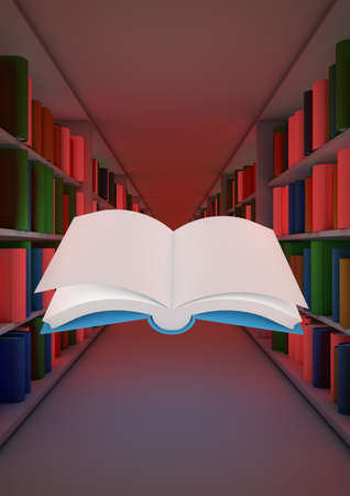 render of an abstract library with a floating open book photo