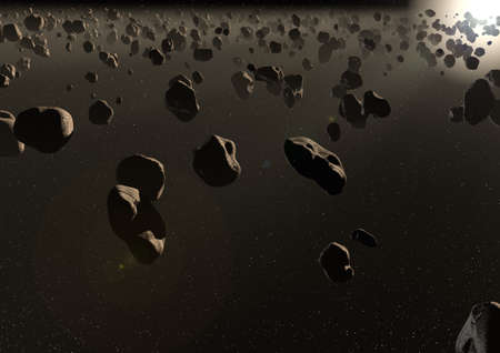render of an asteroid field Stock Photo