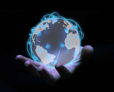 render of a social network globe above a hand Stock Photo