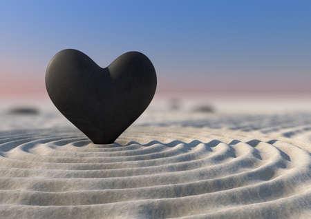 coraz�n y cerebro: Un primer plano de un jard�n zen japon�s con una piedra en forma de coraz�n