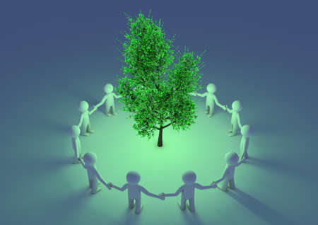 render of people protecting a glowing tree photo