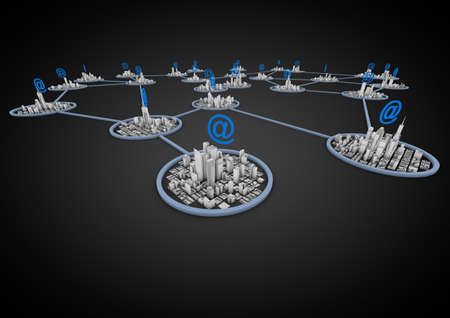 link building: render of a network of cities connected through the internet