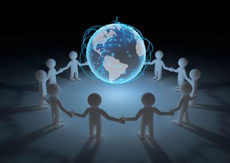mundo manos: hacen de un círculo de personas tomados de la mano con nuestro planeta en el medio Foto de archivo