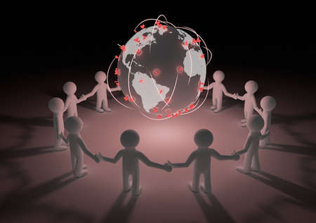 render of a circle of people holding hands with our planet in the middle photo
