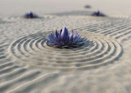 A close-up of a japanese zen garden with a metallic flower photo