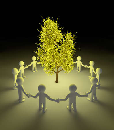 render of people protecting a glowing tree