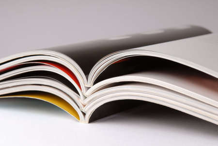 periodical: Stack of some different magazines Stock Photo