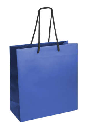 paperbag: Blue beamless paper-bag with cords.