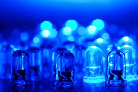 LED background with dozens transparent blue LEDs.