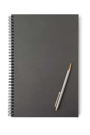 looseleaf: Black loose-leaf with pencil on white background. Stock Photo